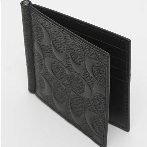 b4b56e74 Coach Money Clip Black Signature Classic Wallet NWT